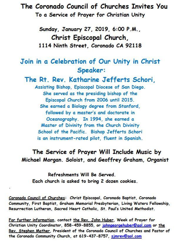 The Coronado Council of Churches Invites You...