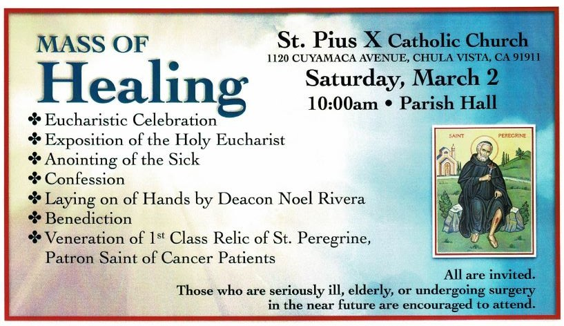 Mass of Healing at St. Pius X in Chula Vista