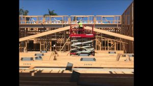 Photos of the Glulam Trusses being assembled at Sacred Heart