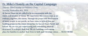Fr. Mike's Homily on the Capital Campaign